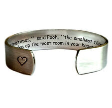 """Sometimes said Pooh the smallest..in your heart 1/2"""" Cuff Bracelet Brush Text..."""