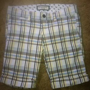 Abercrombie & Fitch Size 0 Long  Shorts plaid~misses flat multi colored cotton*