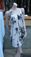 H&M UK sz 8 Lovely Silky Multicolour Short Puffball Hemline Sleeveless Dress