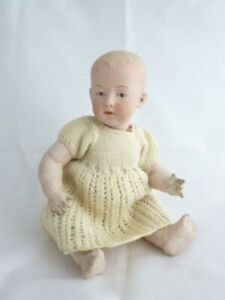 """Antique bisque head character baby doll 10"""" marked Germany 1 - Gebruder Heubach"""
