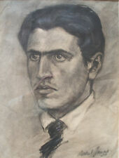 Portrait Young Man Original Charcoal Drawing French. Marcel Jeune Signed 1924