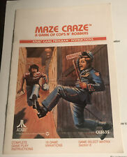 Atari 2600 Instruction Manual only MAZE CRAZE Cops N' Robbers