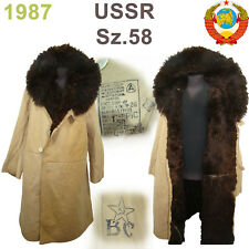 Sz.58 Rare! Soviet Guard Sheepskin Coat TULUP USSR Fur Coat Extreme cold ТУЛУП