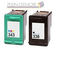 Pack 2 cartouche encre remanufacturée HP 338 XL + HP 343 XL imprimante PSC 2355