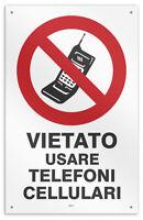 """Cartello vinile 4 fori """"Vietato uso Cellulare"""" negozio/studio/ospedale"""