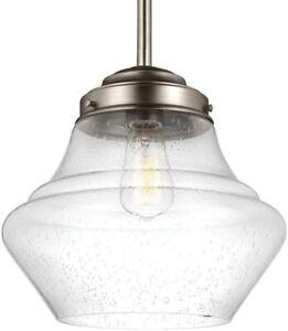 "Feiss P1407SN Alcott Satin Nickel Schoolhouse Pendant Light Fixture 12"" REG $245"