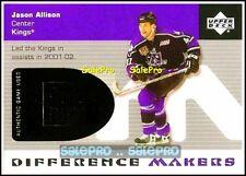 UPPER DECK 2002 JASON ALLISON NHL LA KINGS #DMJA DIFFERENCE MAKERS GAME JERSEY