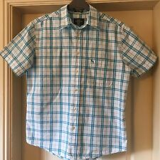 Men's Blue White Checked Shirt Medium Relaxed Fit Short Sleeved H&M VGC