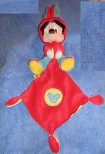 peluche doudou Mickey Disney nicotoy kiabi rouge bleu et jaune en TBE