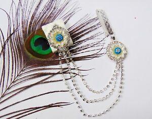 Indian Saree Pin Silver Hip Chain CZ Side Waist Belt Sari Brooch Wedding Jewelry