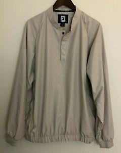 Footjoy Mens Pullover Windbreaker Golf Jacket 1/4 Snap Collar Beige Size XL
