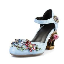 Womens Retro Velvet Rhinestone Ankle Strap Mary Janes High Heel Court Shoes meqc