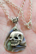 """SKULL NECKLACE & GUITAR PICK FAUX ABALONE SHELL 20"""" 4mm SILVER PLATED CHAIN NEW!"""