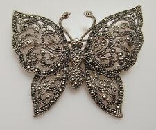 LARGE STERLING SILVER MARCASITE BUTTERFLY PIN BROOCH