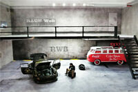 1:64 Diorama Double-deck Garage 2 Led light RWB W/Acrylic Cover