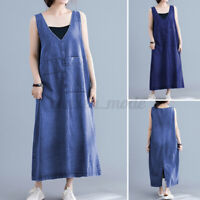 Mode Femme Robe en Jean Sans Manche Col V Casual en vrac Dress Long Maxi Plus