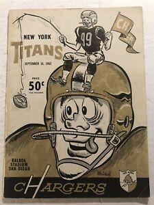 1962 NEW YORK TITANS vs SAN DIEGO CHARGERS Program AFL JACK KEMP Don MAYNARD