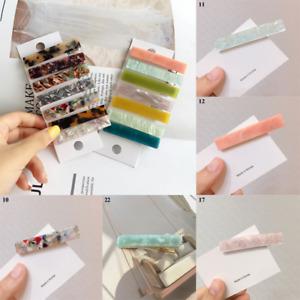Women Rectangle Geometric Alloy Barrette Hairpin Marble Print Acetate Hair Clips