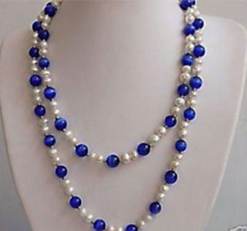 """Beautiful 7-8mm White Pearl+blue Sapphire Round Bead Gems Necklaces 48"""""""