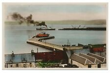 Loch Ryan Piers Stranraer Wigtown Dumfries and Galloway Scotland Tinted RPPC