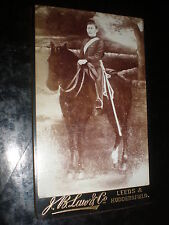 Old Cdv photograph soldier on horse by J B Law at Leeds & Huddersfield  c1890s