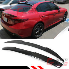 FOR 2017-2019 ALFA ROMEO GIULIA CARBON FIBER REAR WINDOW ROOF + VQ TRUNK SPOILER