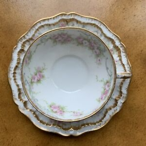 Antique Haviland Limoges France 597 Large 10 Dinner Plate Bows Wreaths Double Gold