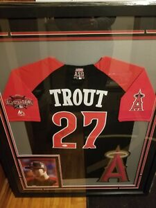 Mike Trout Autographed Signed All Star Majestic Jersey Framed Jsa Coa Angels