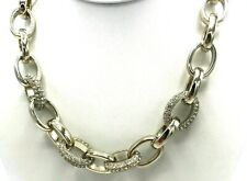 Ann Taylor Rhinestone Silver Tone Chunky Chain Link Necklace Statement Crystals