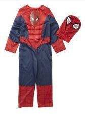 NUOVO film Spiderman Costume con maschera età 3/4 anni vestito muscolare