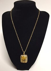 Citrine & Rhinestone Gold Over Sterling Silver Pendant Necklace from Italy 17""