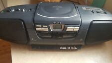 Sony BoomBox Cfd-222 Cd Am Fm Radio Dual Cassette Boom Box Tested Works