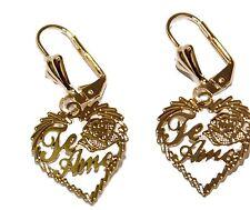 Te Amo Heart Leverback Earring 18k Gold Plated Dangle Earrings - Te Amo Heart