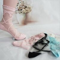 Bow Knit Frill Trim Women Crystal Lace Ankle Socks Transparent Sheer Mesh