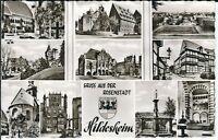 """Ansichtskarte Rosenstadt Hildesheim - """"Kirche, Rathaus, Park, Brunnen"""" s/w"""