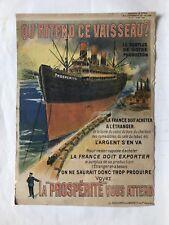 RARE AFFICHE DE PROPAGANDE 1920 LA FRANCE DOIT EXPORTER