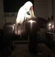 Gemmy Airblown Inflatable Ghost Reaper on Horse 5.5 Ft. Red LED Eyes