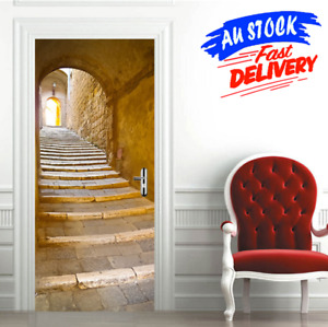 3D Door Wall Sticker Decals Removable Self Adhesive Art Mural Home Decoration AU