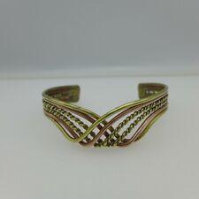 Vintage Artisan Copper and Brass Wire Cuff Bracelet Adjustable Boho