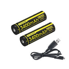 Combo 2x Nitecore NL1834R Rechargeabe Battery 3400mAh 18650 w/USB Charging Cable