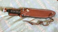 REDUCED!! WWII ERA KA-BAR OLEAN, NY 6 INCH   COMBAT KNIFE & CUSTOM SCABBARD