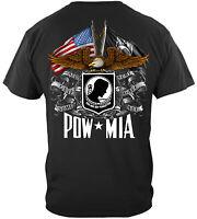 U.S Flag American Flag Double Flag Eagle Pow Mia T-Shirt 100% Cotton Black USA