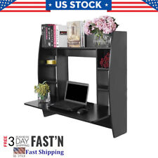 Wall Mounted Computer Desk W/Storage Shelves Home Table Floating Dining Desk