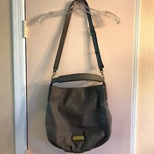 MARC By MARC JACOBS Hillier Q Leather Crossbody Bag Purse Hobo Gray Large *