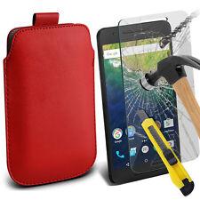 Rojo Cuero Artificial Lengüeta Funda Funda & Cristal para Huawei Nexus 6p