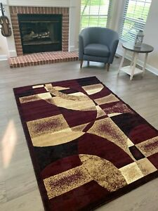 Area Rugs Carpet Flooring Modern Burgundy Living Room Large Size 5'x8'
