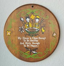 Wood Kitchen Wall Art Vintage My House is Clean Enough Kitschy Round Mid-Century