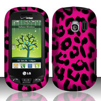 For LG Extravert VN271 HARD Protector Case Snap On Phone Cover Hot Pink Leopard