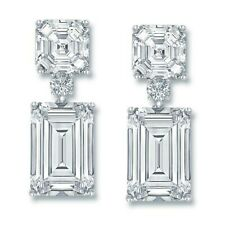 White Emerald Asscher 925 Sterling Silver Dangle Earrings Wedding Solid Jewelry