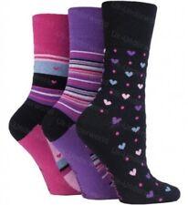 3 Pairs Ladies Black Pink Purple Hearts Stripes Gentle Grip Socks UK Size 4-8